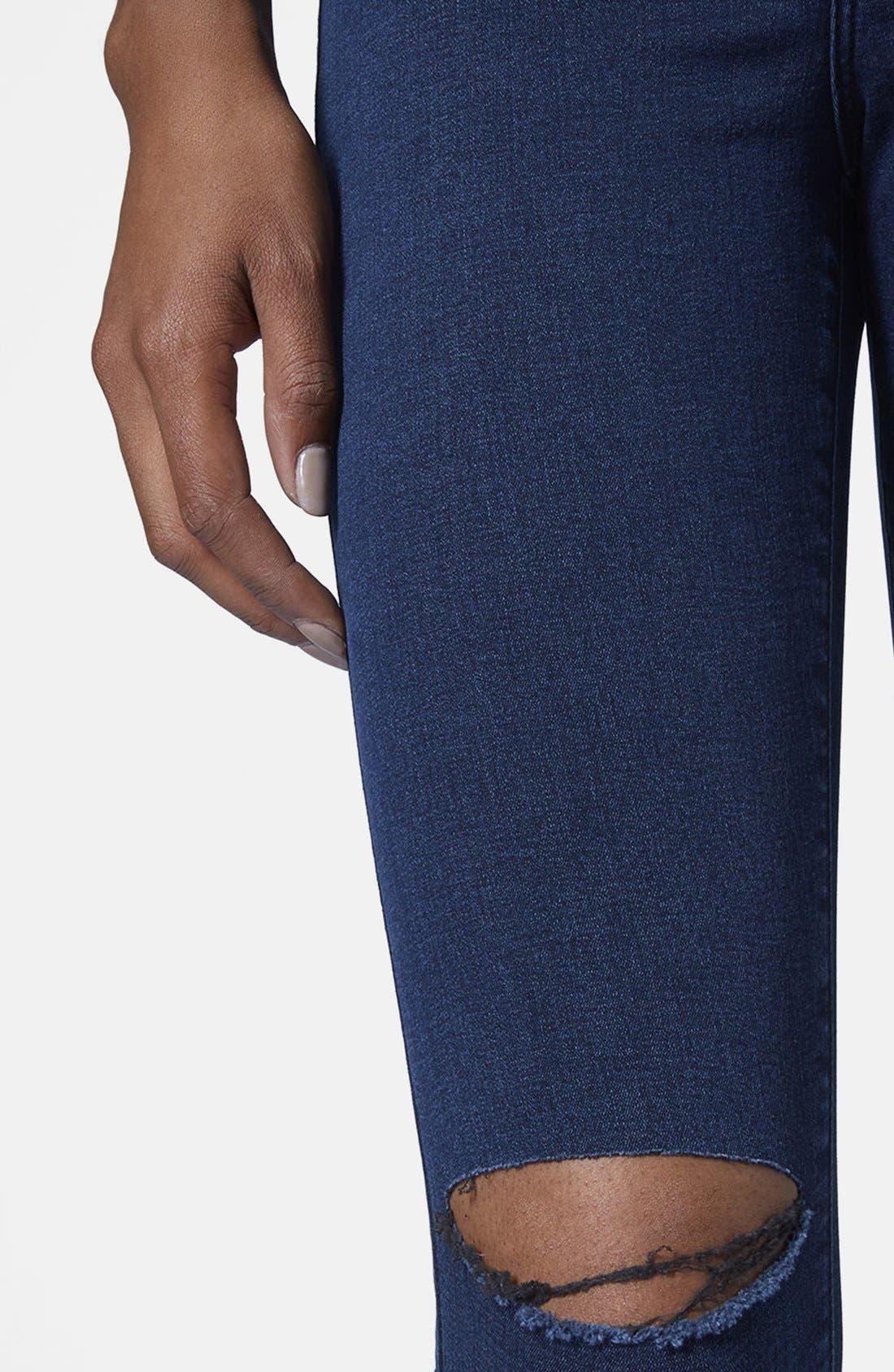 Alternate Image 4  - Topshop Moto 'Joni' Ripped High Rise Skinny Jeans (Blue) (Petite)