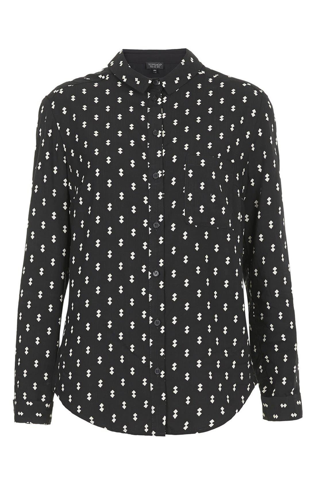 Alternate Image 3  - Topshop Diamond Print Woven Shirt
