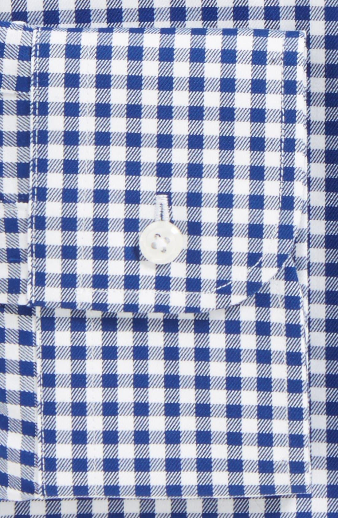 Classic Fit Non-Iron Gingham Dress Shirt,                             Alternate thumbnail 3, color,                             Navy- Patriot