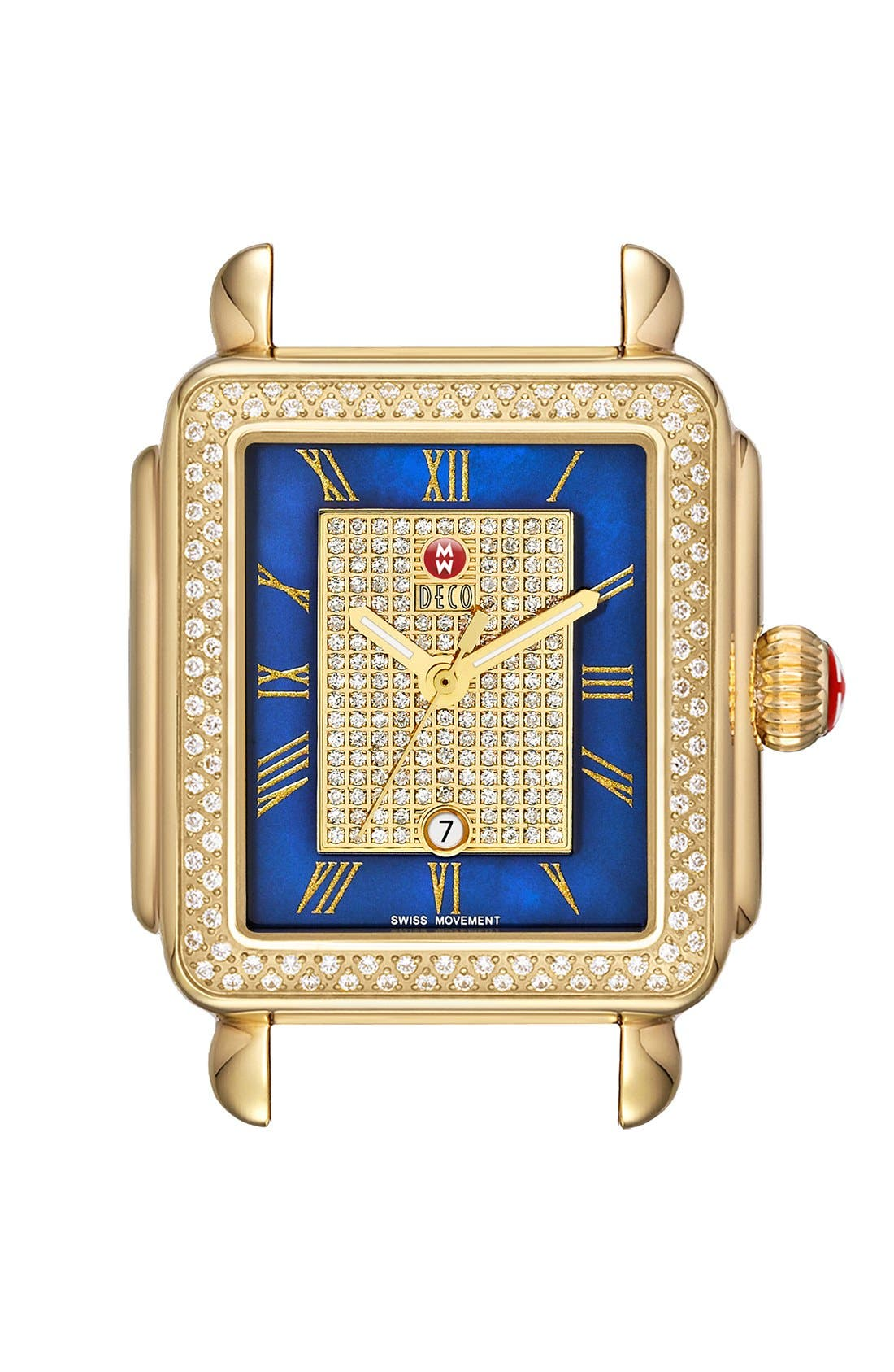 Main Image - MICHELE 'Deco' Diamond & Mother-of-Pearl Dial Watch Case, 33mm x 35mm