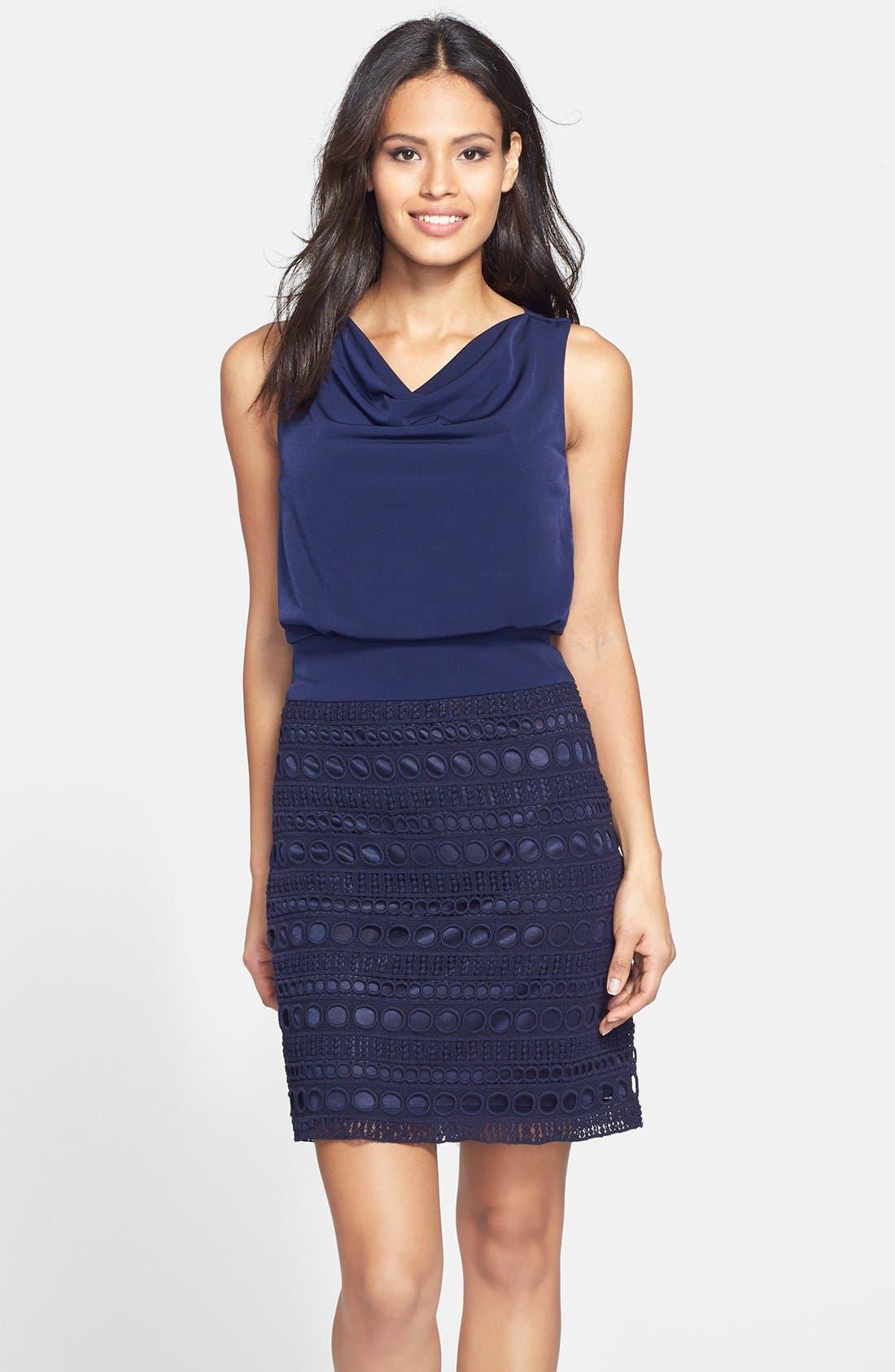Alternate Image 1 Selected - Laundry by Shelli Segal Jersey & Lace Blouson Dress