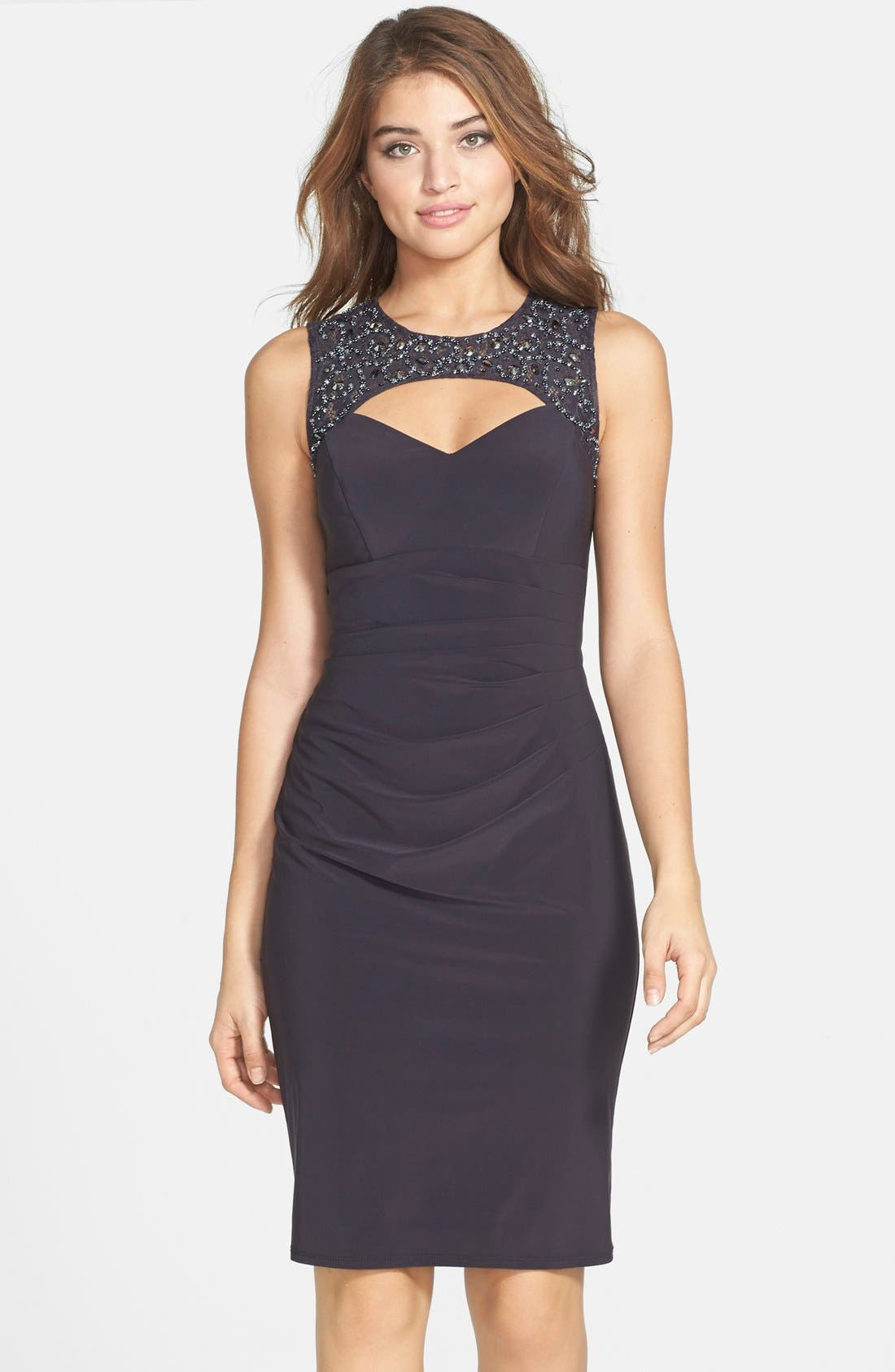 Alternate Image 1 Selected - Xscape Embellished Lace & Jersey Cutout Sheath Dress