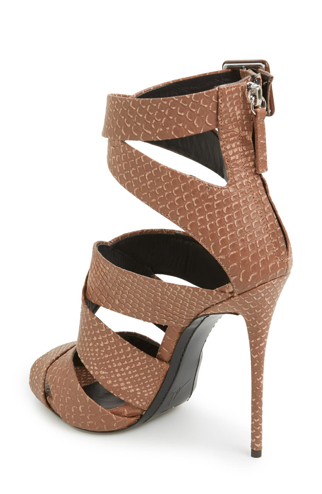 Alternate Image 2  - Giuseppe Zanotti 'Coline' Snake Embossed Leather Sandal (Women)