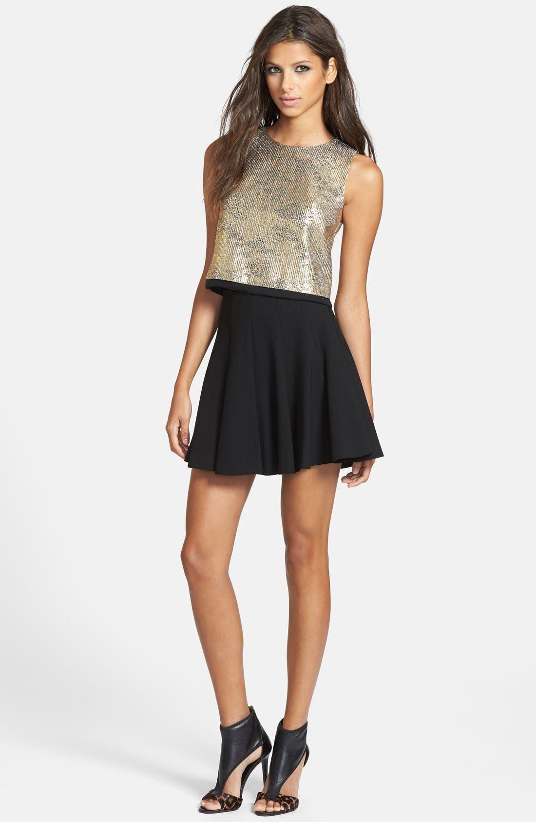 Main Image - ASTR Ponte-Knit Pleated Skater Skirt