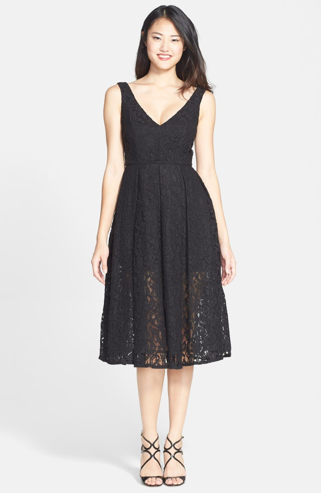 Main Image - Bardot 'Rosie' Lace Midi Fit & Flare Dress (Nordstrom Exclusive)