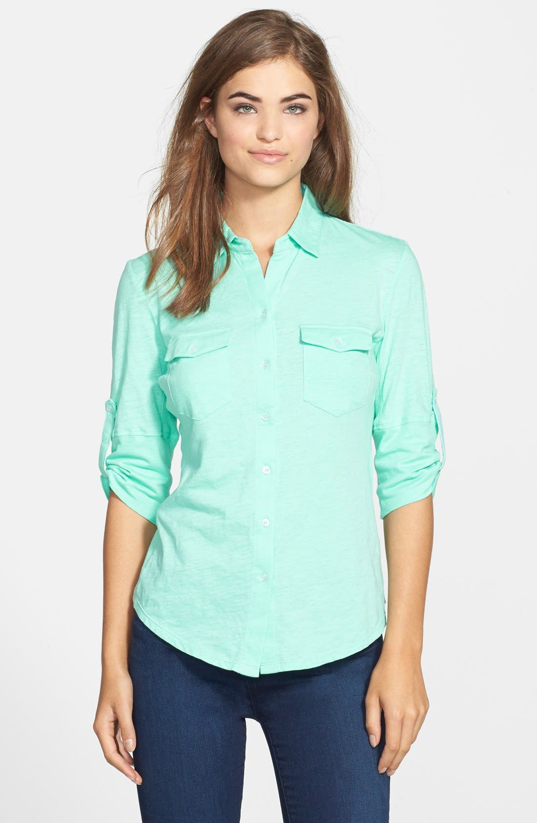 Main Image - Sandra Three Quarter Roll Sleeve Knit Shirt