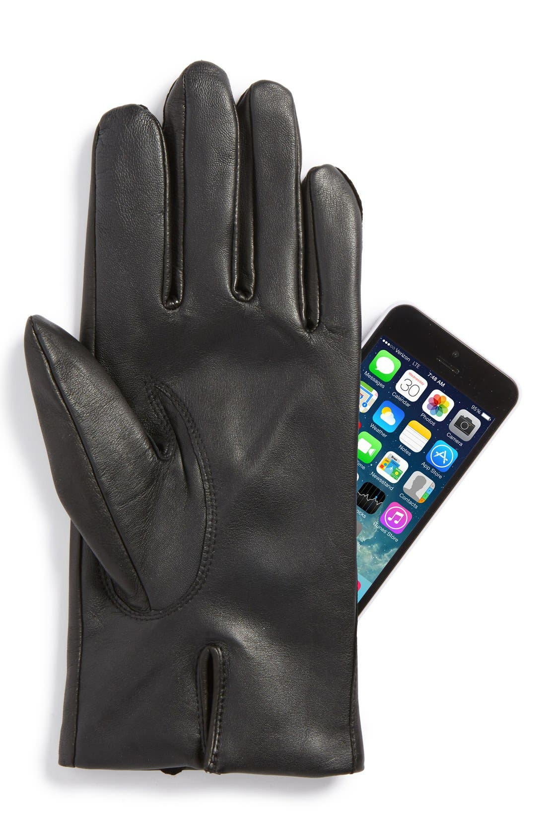 Leather Tech Gloves,                             Alternate thumbnail 2, color,                             Black