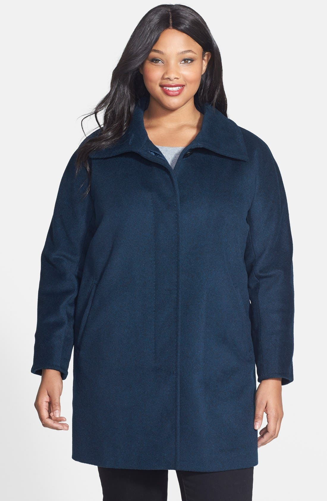 Main Image - Ellen Tracy Fly Front Wool Blend Topper (Plus Size)