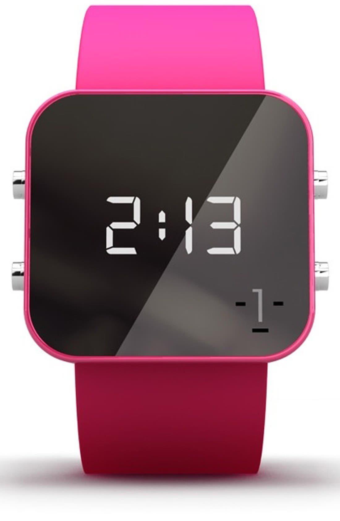 Alternate Image 1 Selected - 1:Face 'Breast Cancer' Square Digital Silicone Strap Watch, 38mm