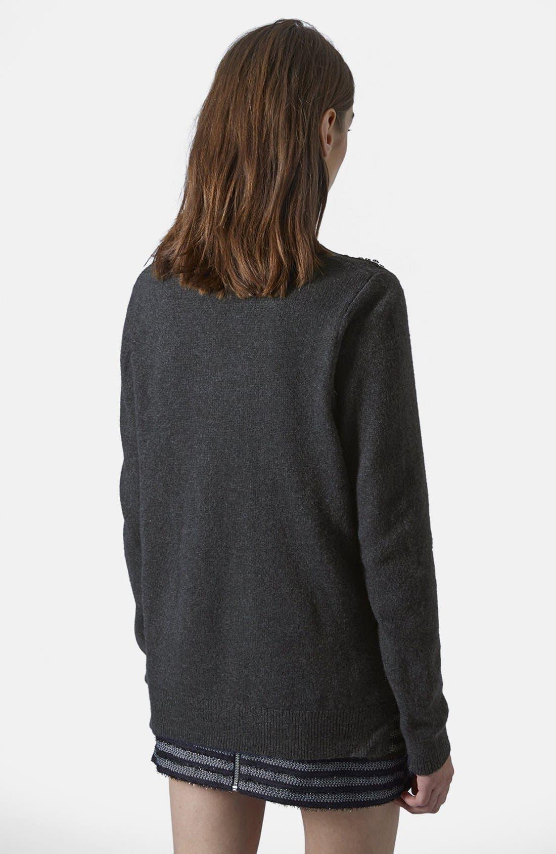 Alternate Image 2  - Topshop Embellished Shoulder Sweater