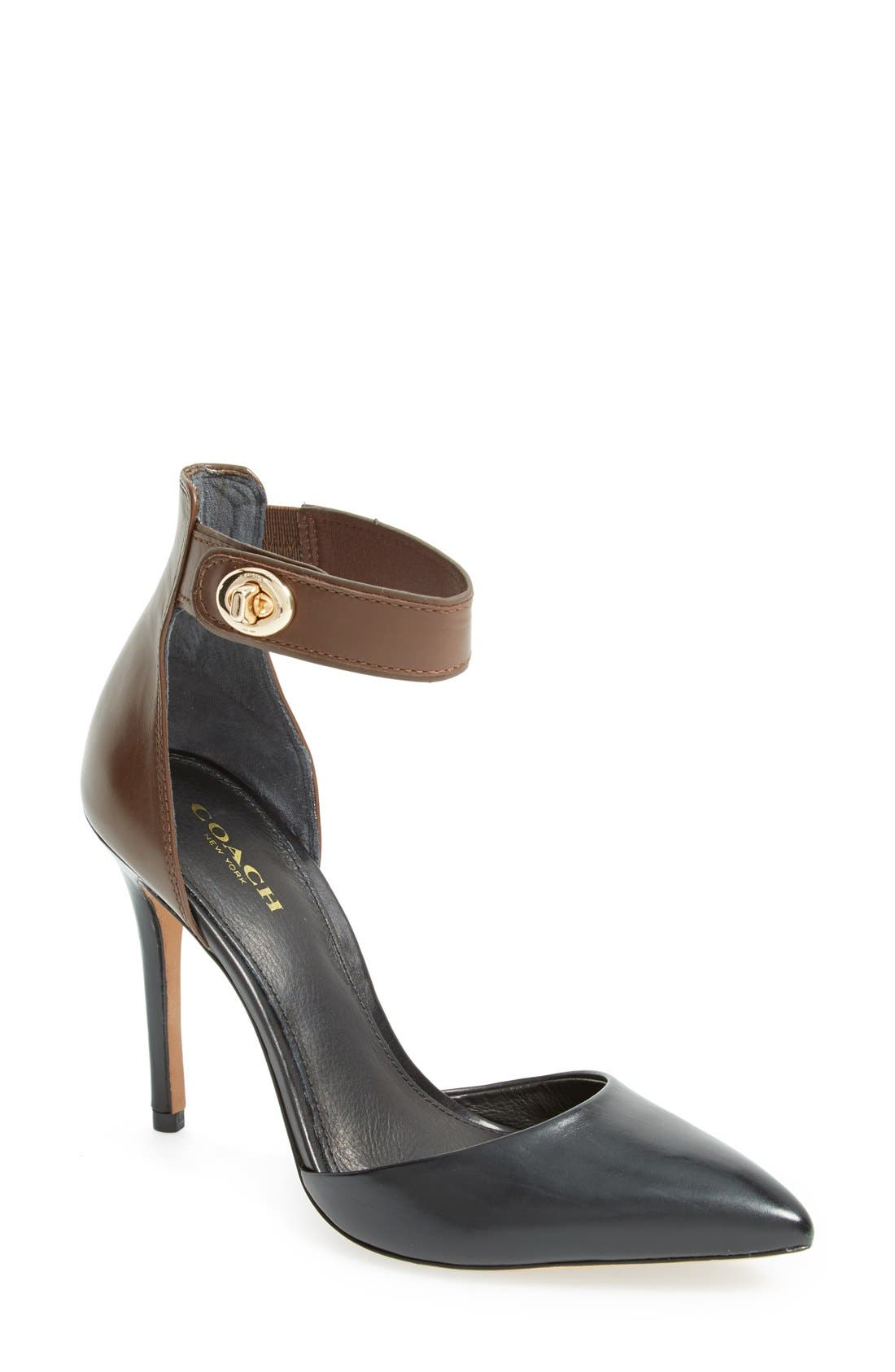 Main Image - COACH 'Houston' Two-Tone Leather Ankle Strap Pump (Women)