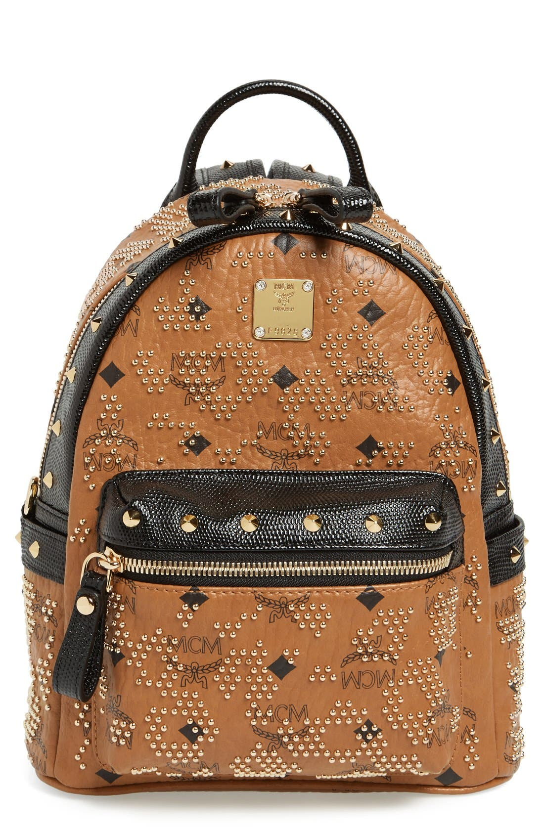 Alternate Image 1 Selected - MCM 'Mini Visetos' Studded Logo Print Backpack