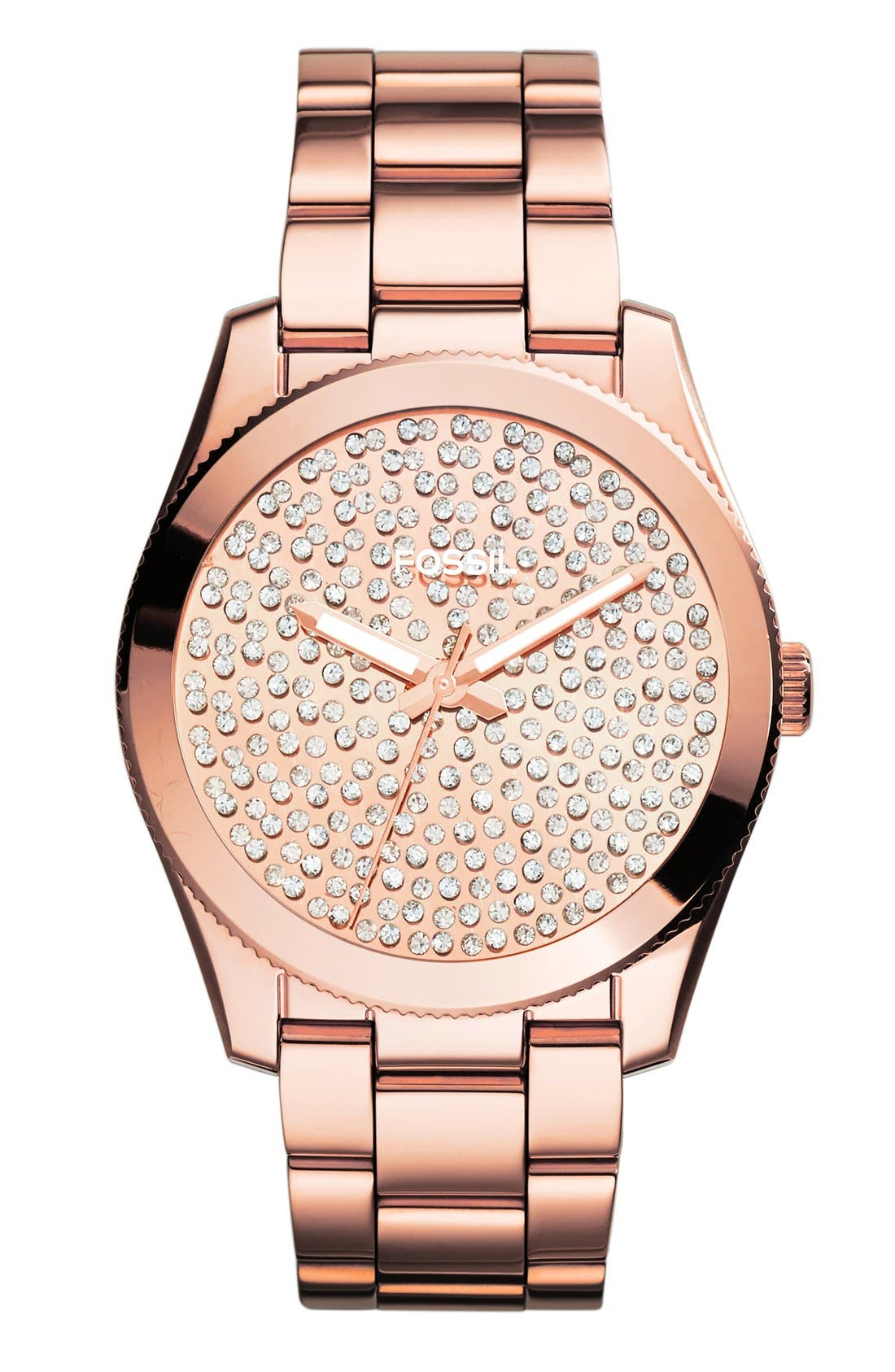 Main Image - Fossil 'Perfect Boyfriend' Pavé Dial Bracelet Watch, 39mm