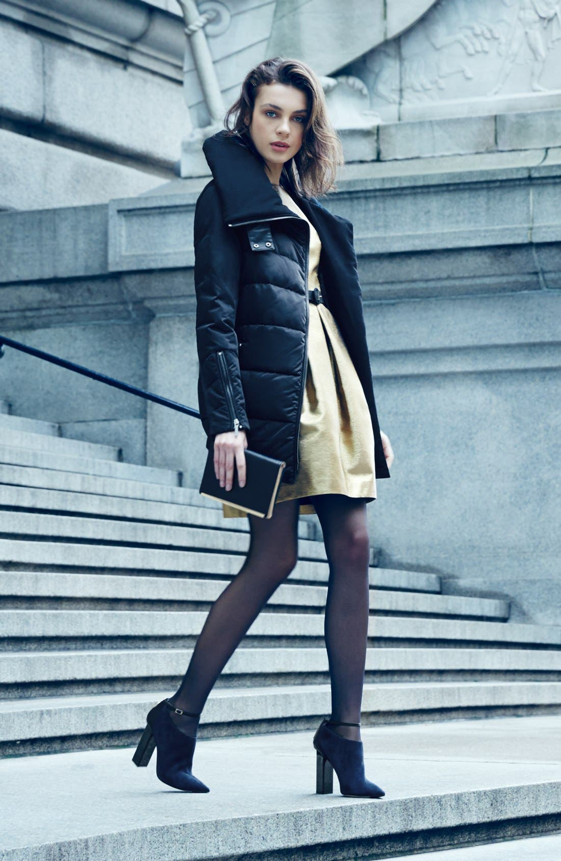 Alternate Image 2  - AB Oversize Collar Asymmetrical Down Coat