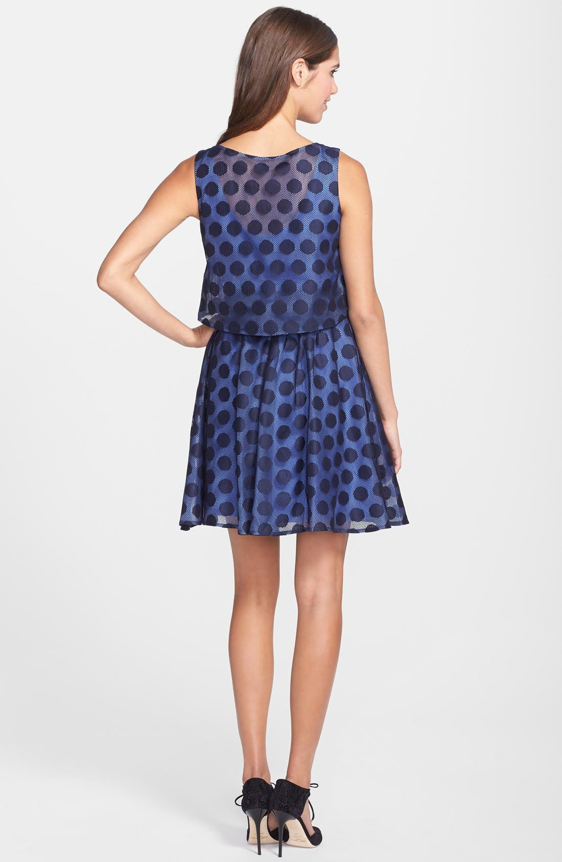 Alternate Image 2  - Betsey Johnson Dot Print Lace Pop Over Dress