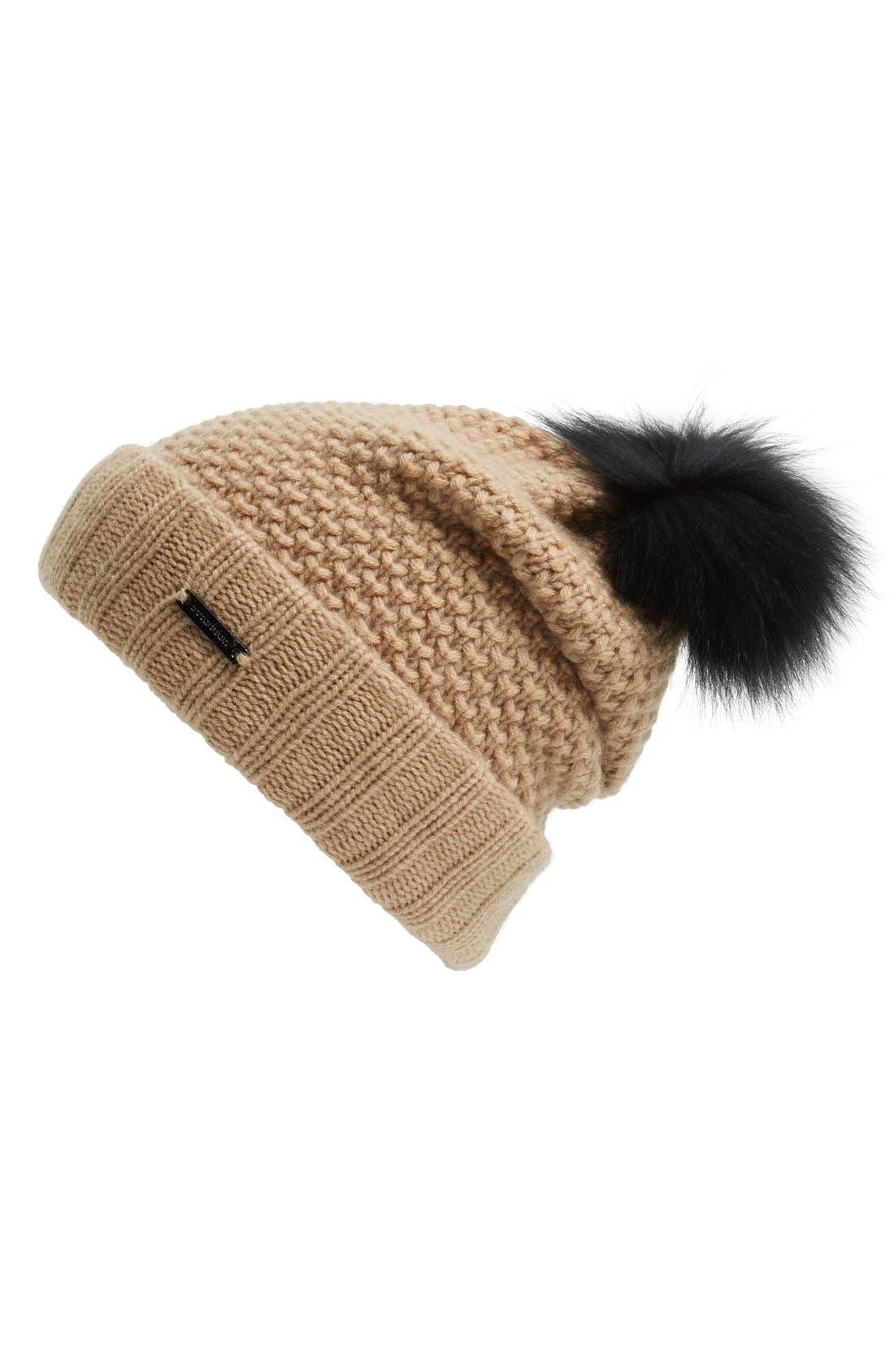 Main Image - Burberry Knit Wool & Cashmere Beanie with Genuine Fox Fur Pompom