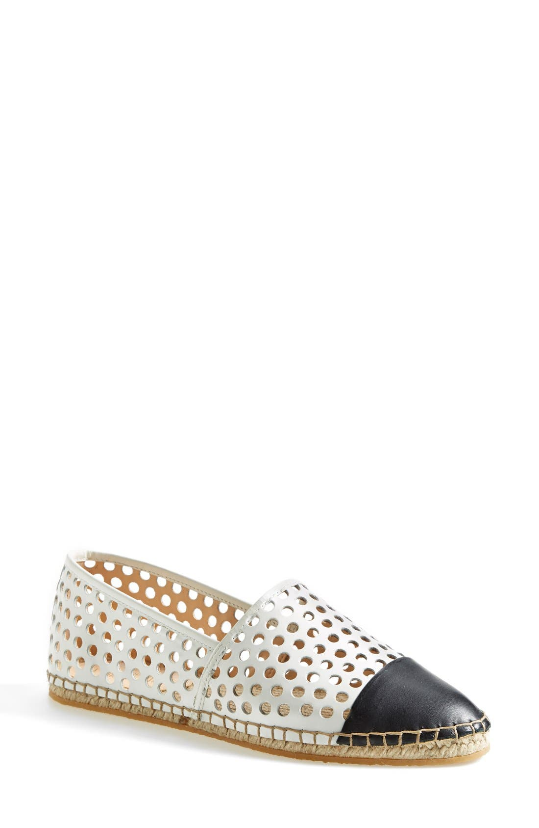 'Mara' Espadrille Flat,                         Main,                         color, White/ Black