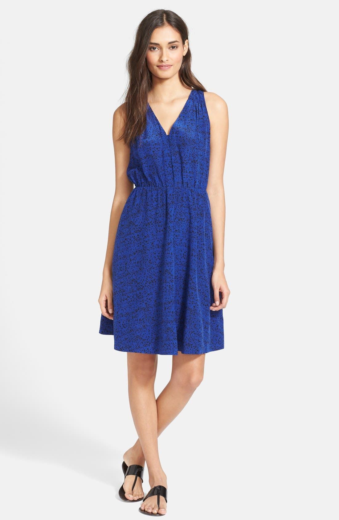 Main Image - Rebecca Taylor Ink Dot Print Silk Blouson Dress