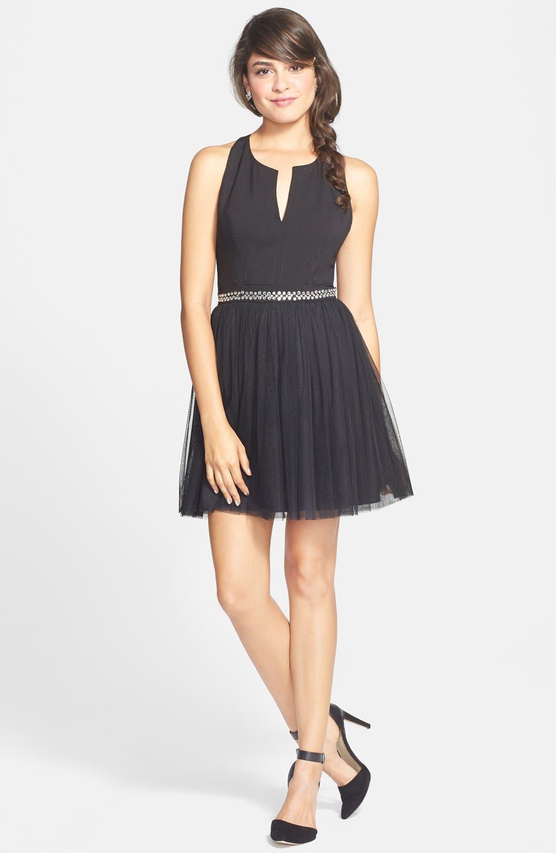 Alternate Image 1 Selected - En Crème Embellished Cutout Fit & Flare Dress (Juniors)