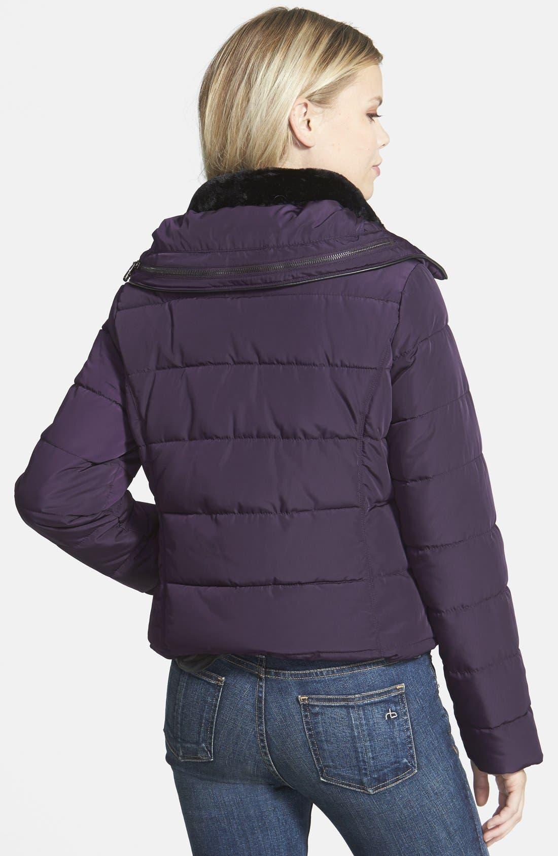 Alternate Image 2  - Steve Madden Faux Fur Collar Puffer Jacket