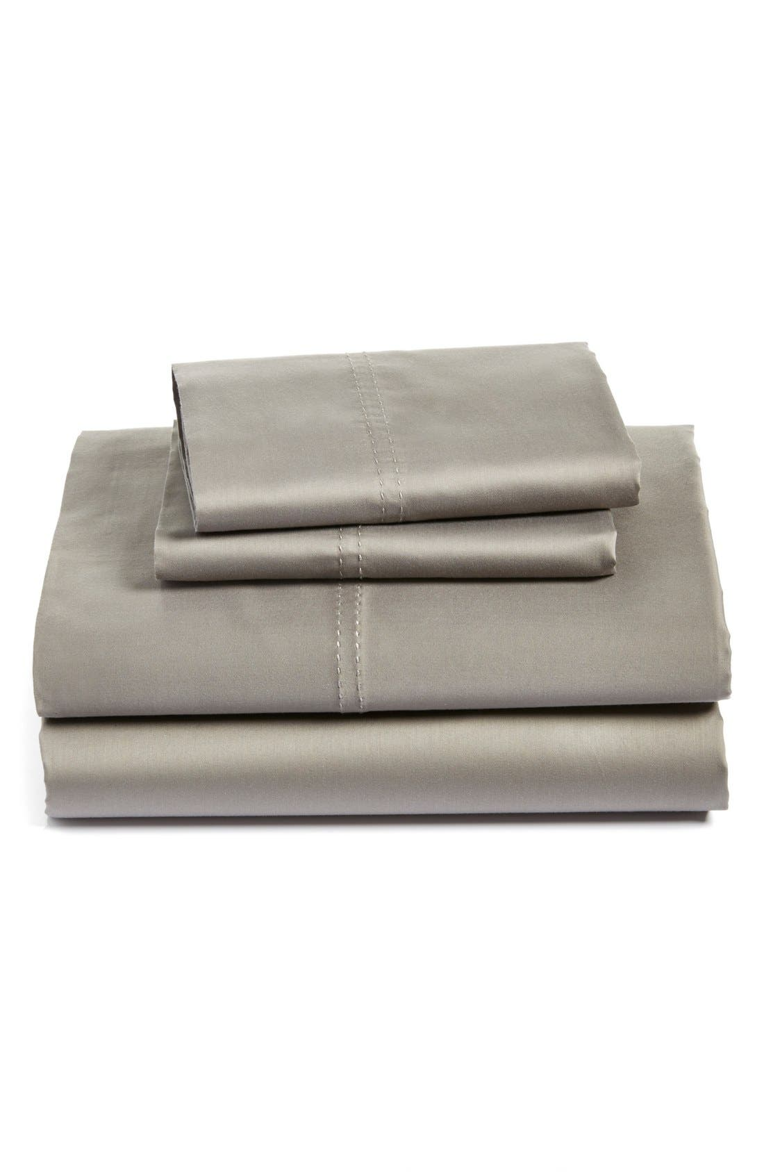 400 Thread Count Sheet Set,                             Main thumbnail 1, color,                             Grey Frost
