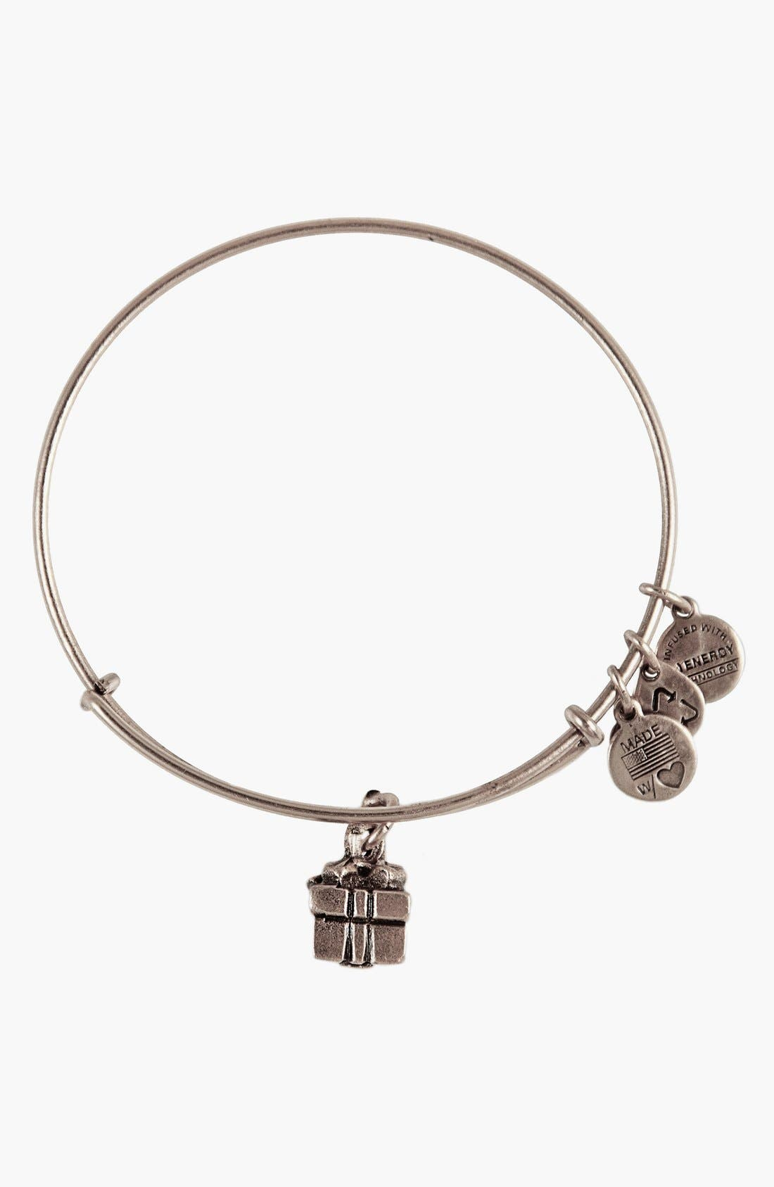 'Charity by Design - Gift Box' Expandable Wire Bangle,                         Main,                         color, Silver