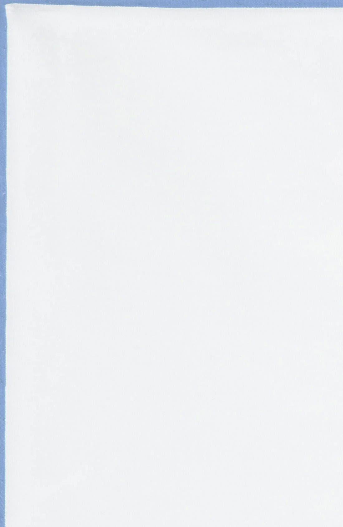 Cotton Solid Pocket Square,                             Alternate thumbnail 2, color,                             White/ Light Blue