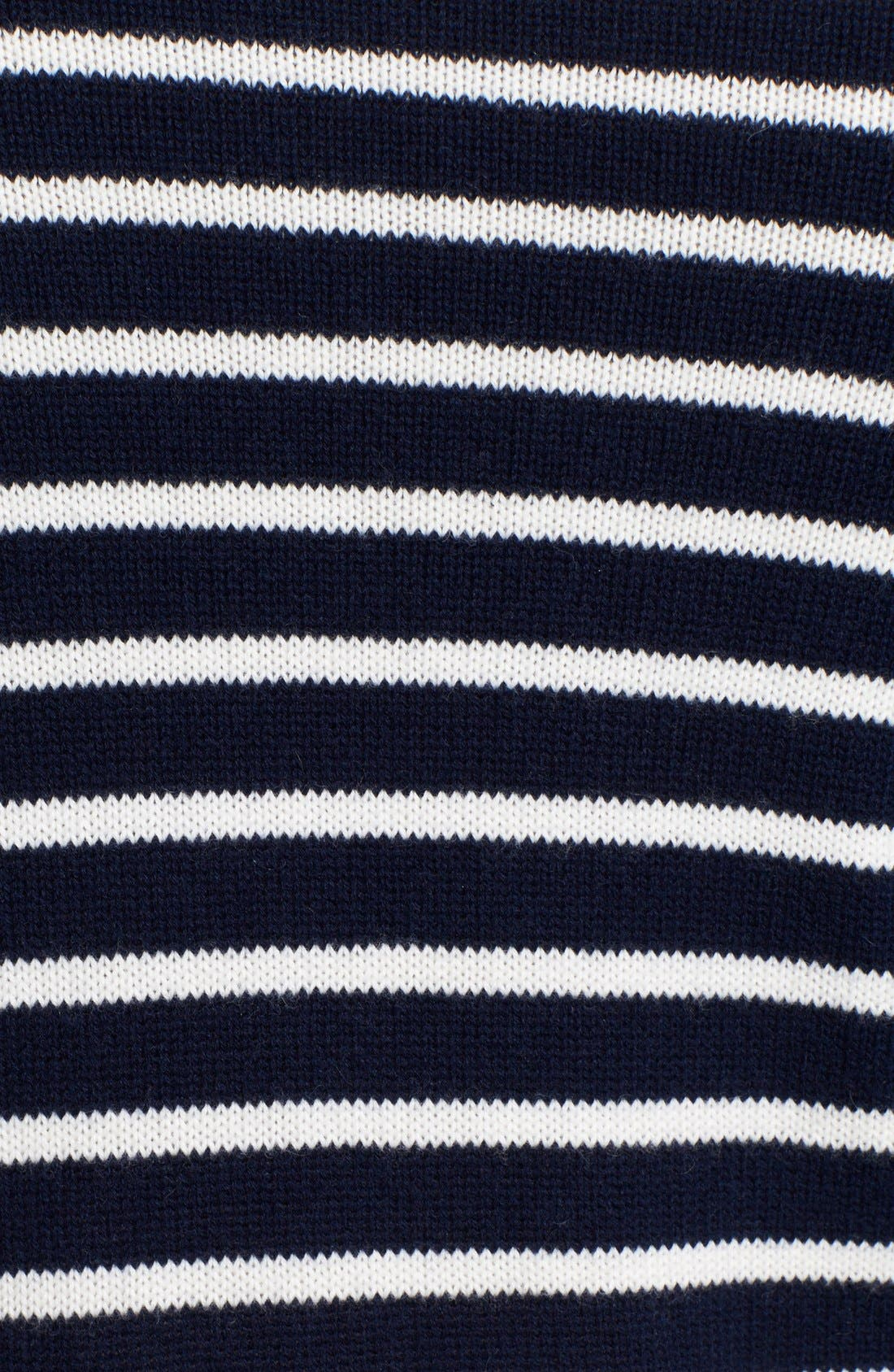 Alternate Image 4  - Theory 'Rymalia' Stripe Crop Cotton & Cashmere Sweater with Poplin Underlay