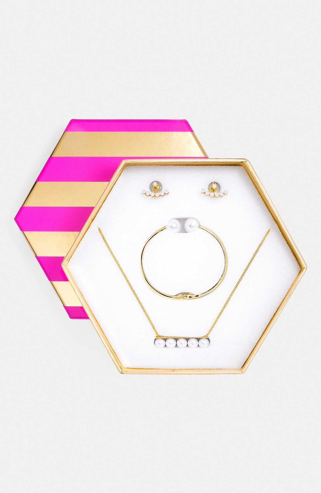 Main Image - BaubleBar 'Trending: Modern Pearly Bead' Necklace, Bracelet & Ear Jacket Gift Set