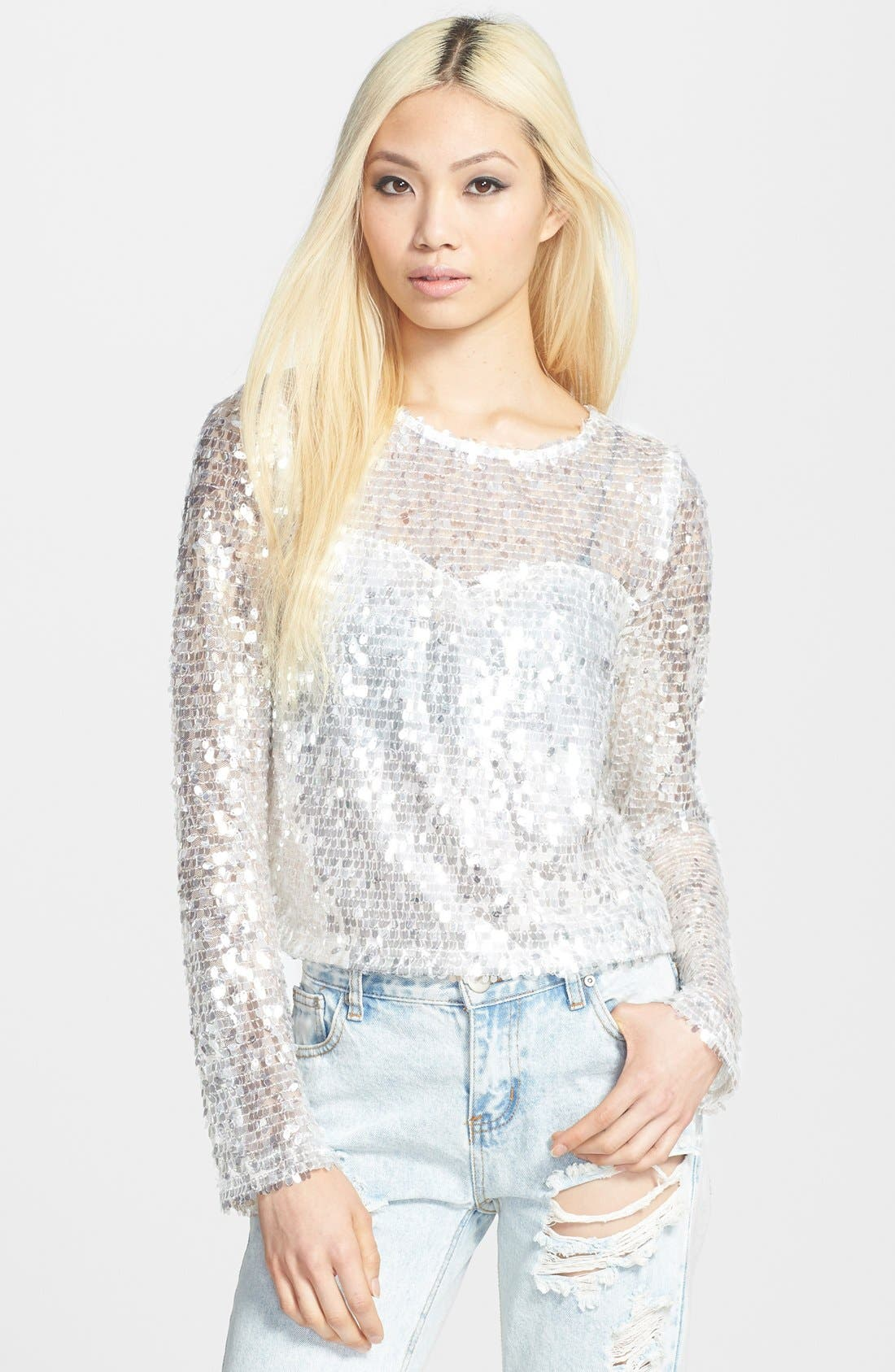 Long Sleeve Sequin Tee,                         Main,                         color, Silver