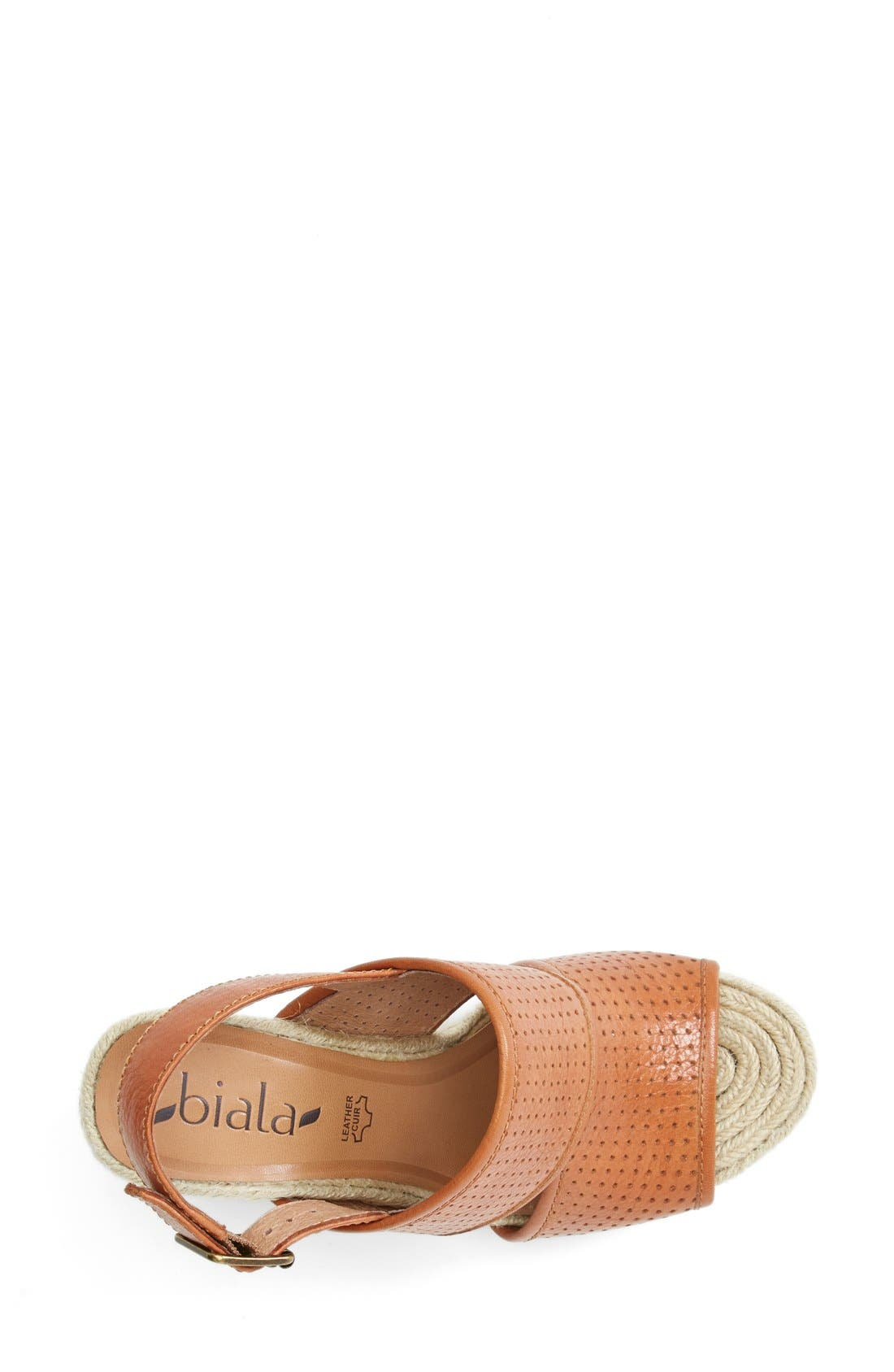 'Joyce' Perforated Espadrille Wedge Sandal,                             Alternate thumbnail 3, color,                             Brown