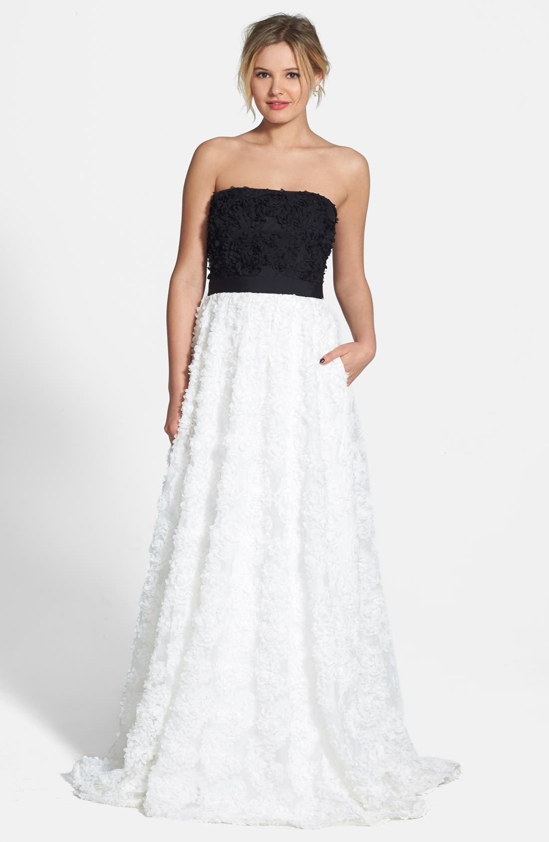 Alternate Image 1 Selected - Adrianna Papell Petal Appliqué Tulle Ballgown