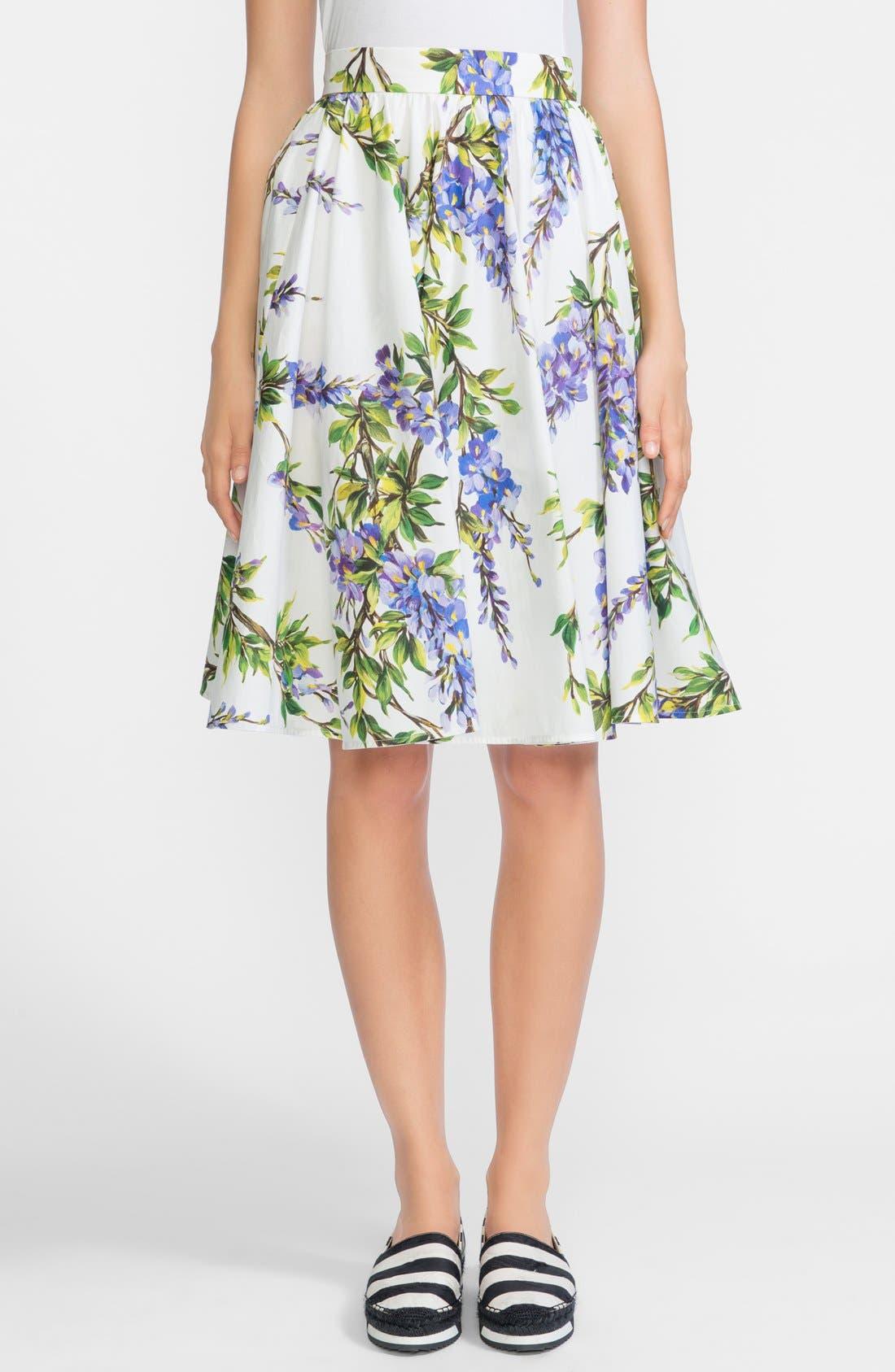 Main Image - Dolce&Gabbana Wisteria Print Cotton Skirt