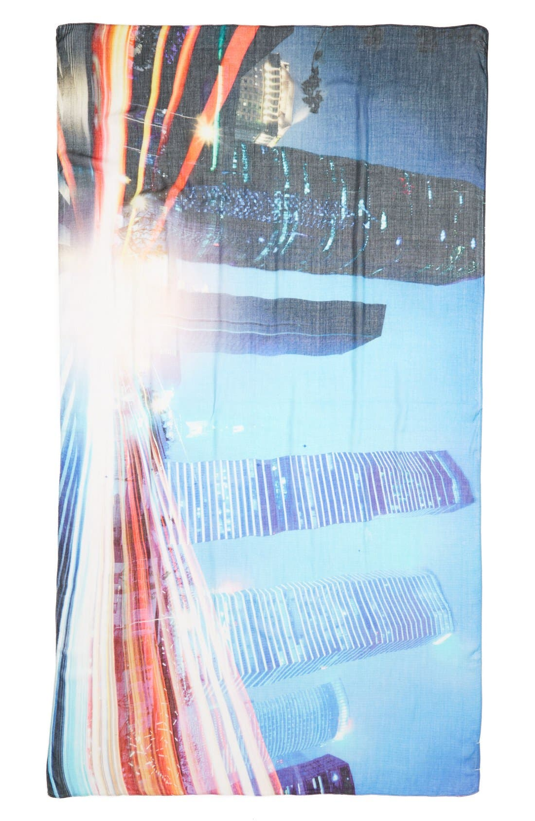 'Fly By' Digital Print Scarf,                             Alternate thumbnail 2, color,                             Meridian