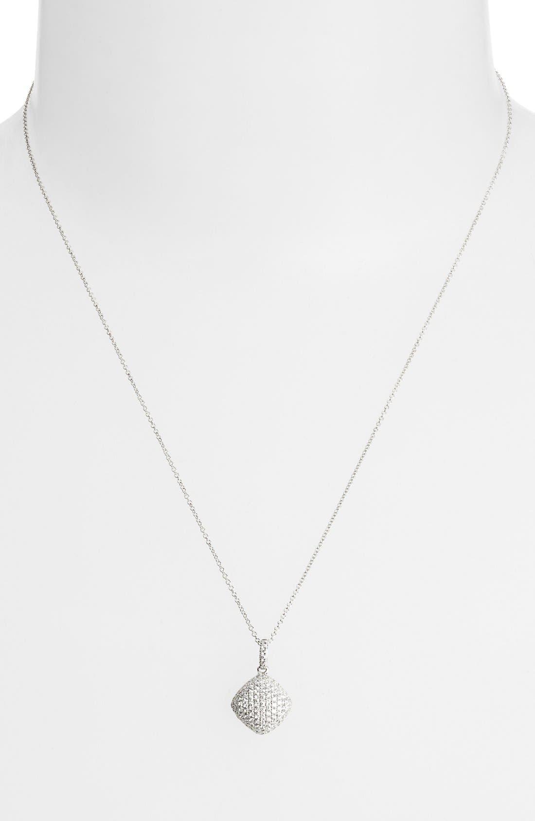 Pavé Diamond Pendant Necklace,                             Main thumbnail 1, color,                             White Gold