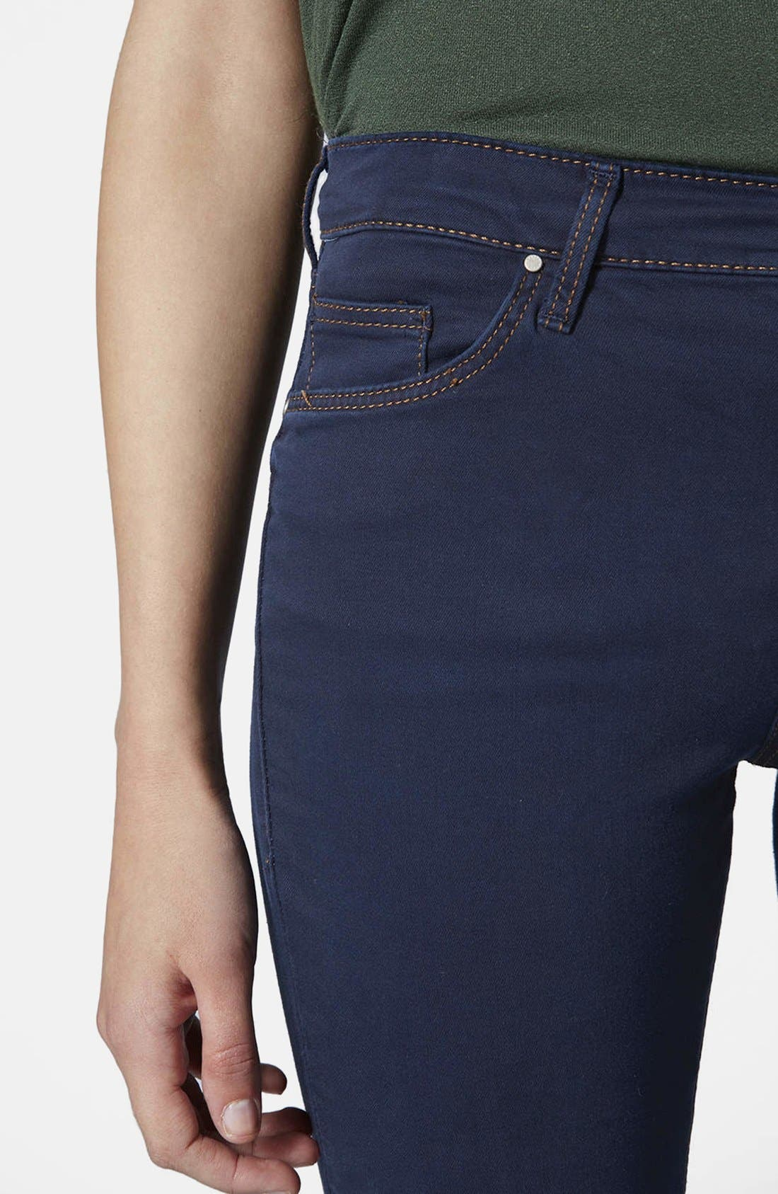 Alternate Image 4  - Topshop Moto 'Leigh' Skinny Jeans (Blue) (Regular & Short)