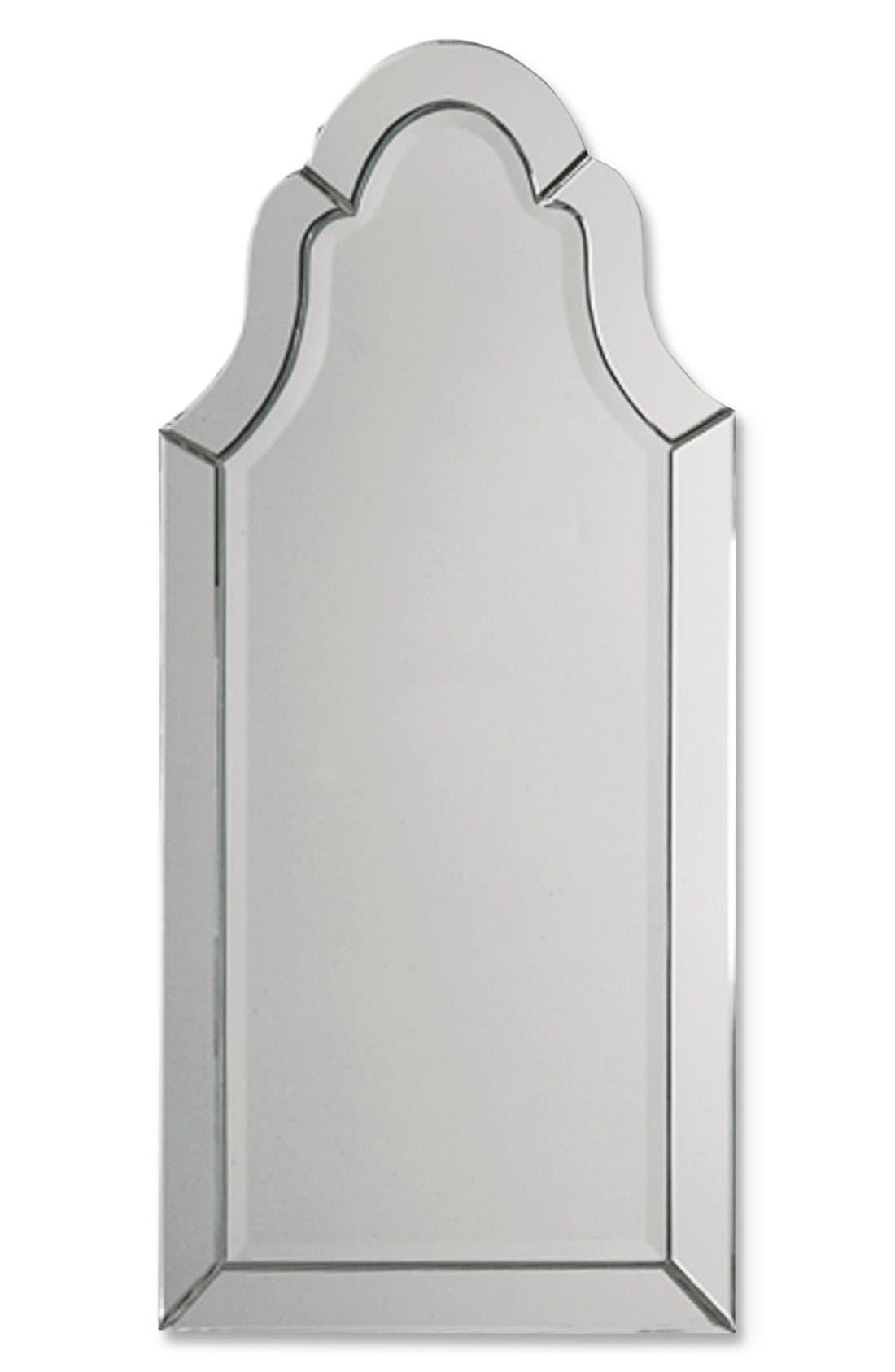'Hovan' Frameless Arch Mirror,                             Main thumbnail 1, color,                             White