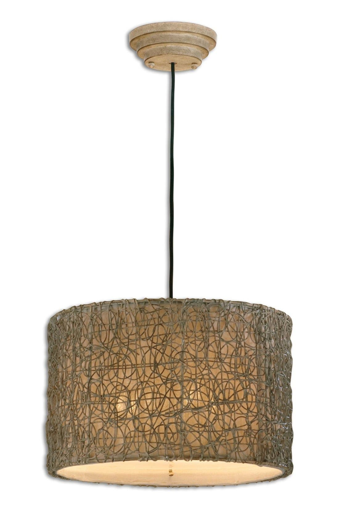 Knotted Rattan Pendant Light,                         Main,                         color, White