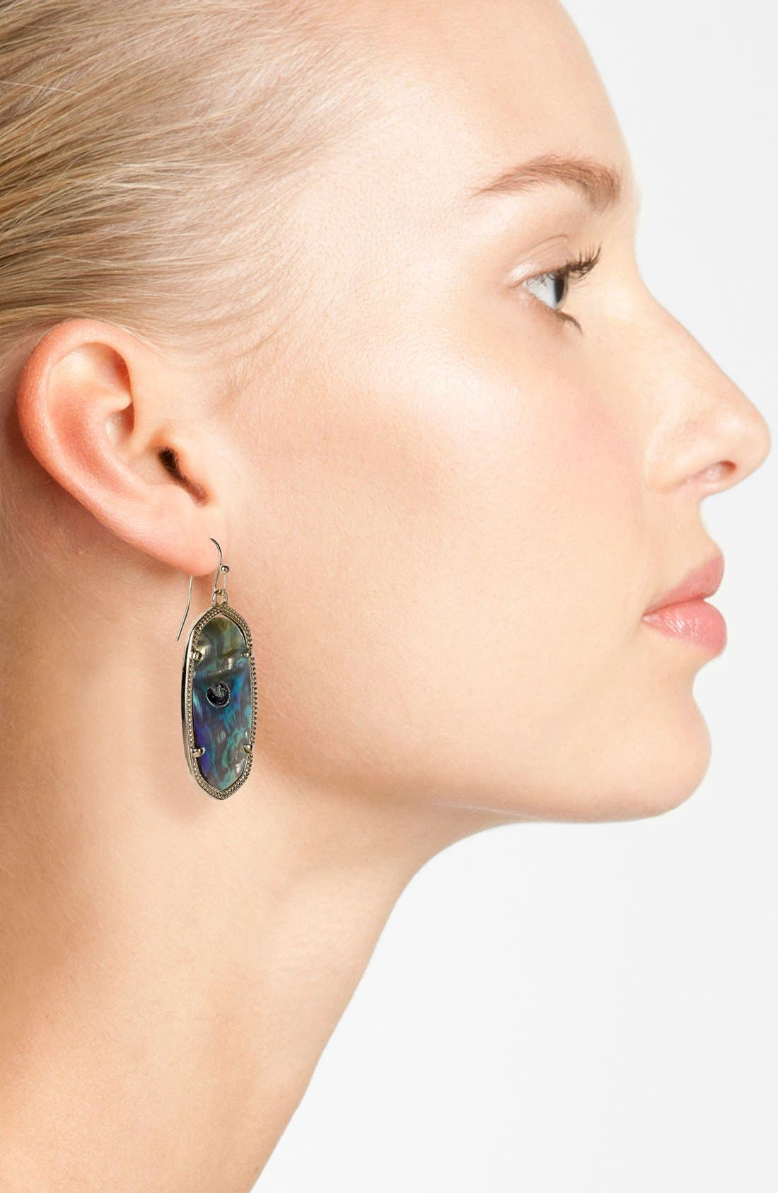 Elle Drop Earrings,                             Alternate thumbnail 2, color,                             Abalone Shell/ Gold