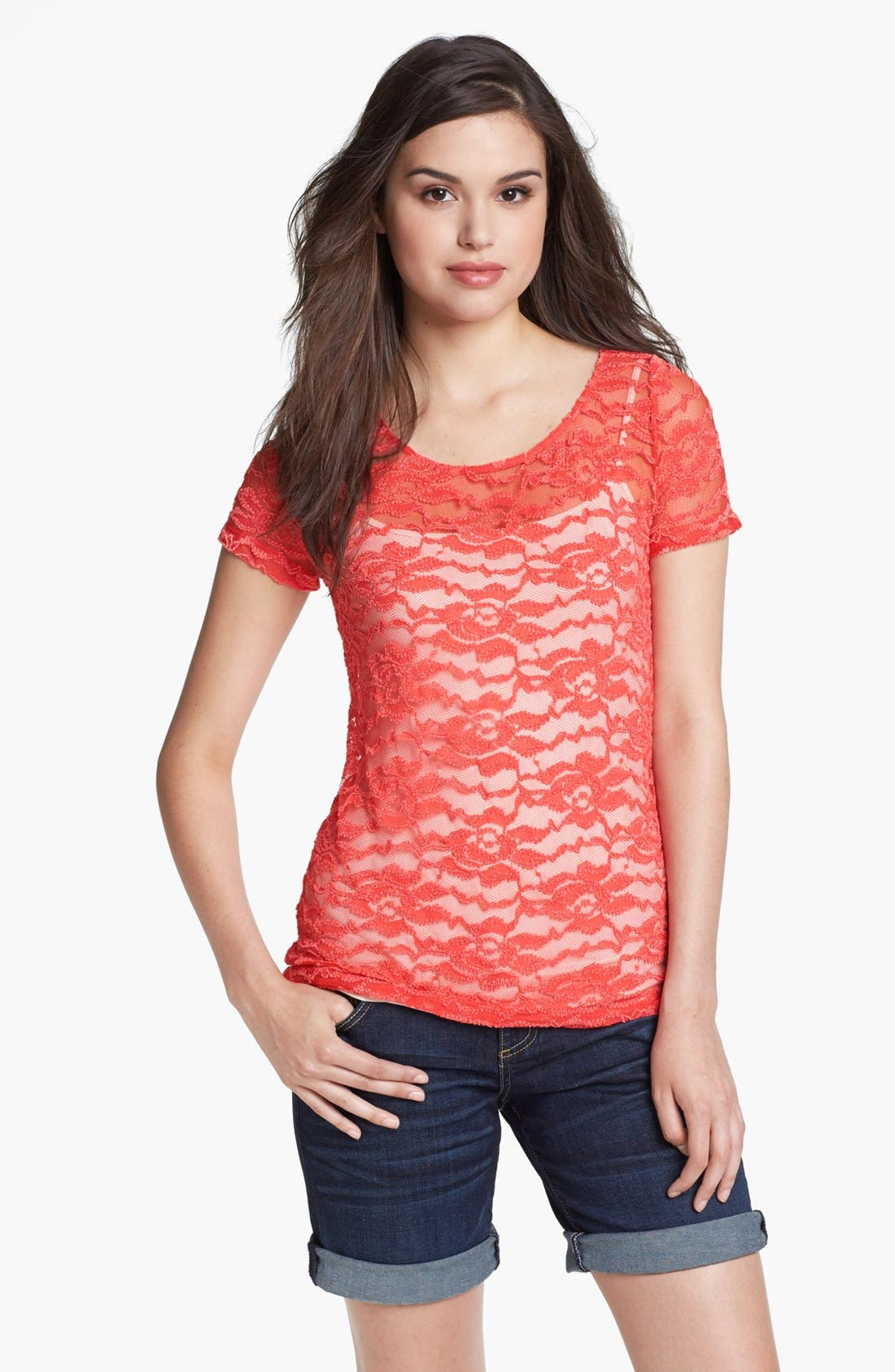 Alternate Image 1 Selected - Pleione Floral Lace Tee
