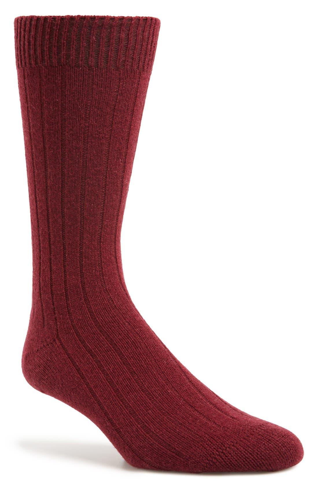'Waddington' Cashmere Blend Mid Calf Socks,                             Main thumbnail 1, color,                             Port
