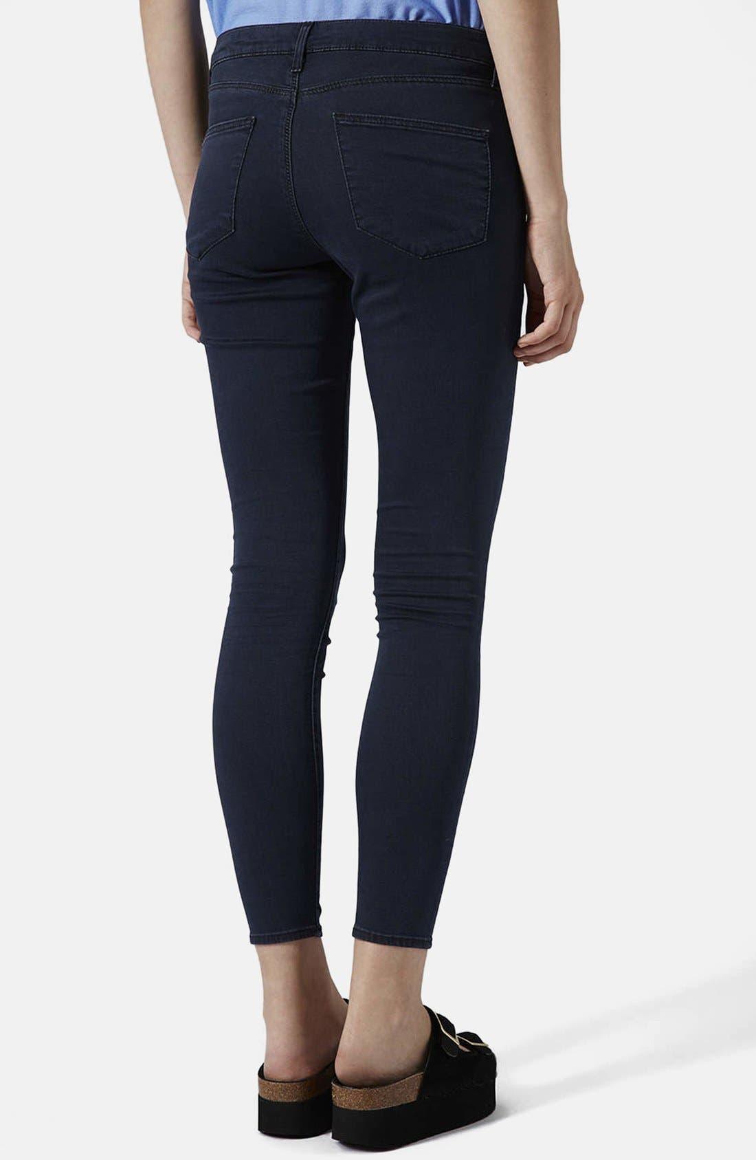 Alternate Image 2  - Topshop Moto 'Leigh' Crop Skinny Jeans (Blue Black) (Regular, Short & Long)