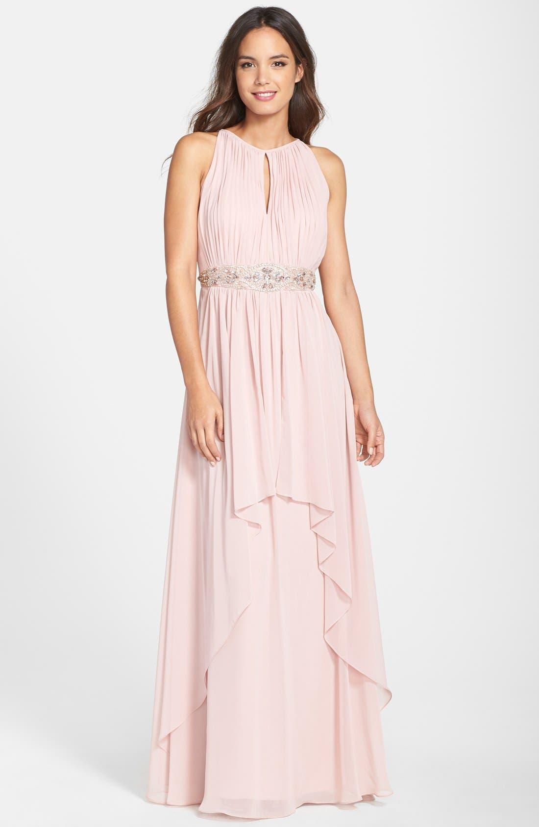 Main Image - Eliza J Embellished Chiffon Gown (Petite)