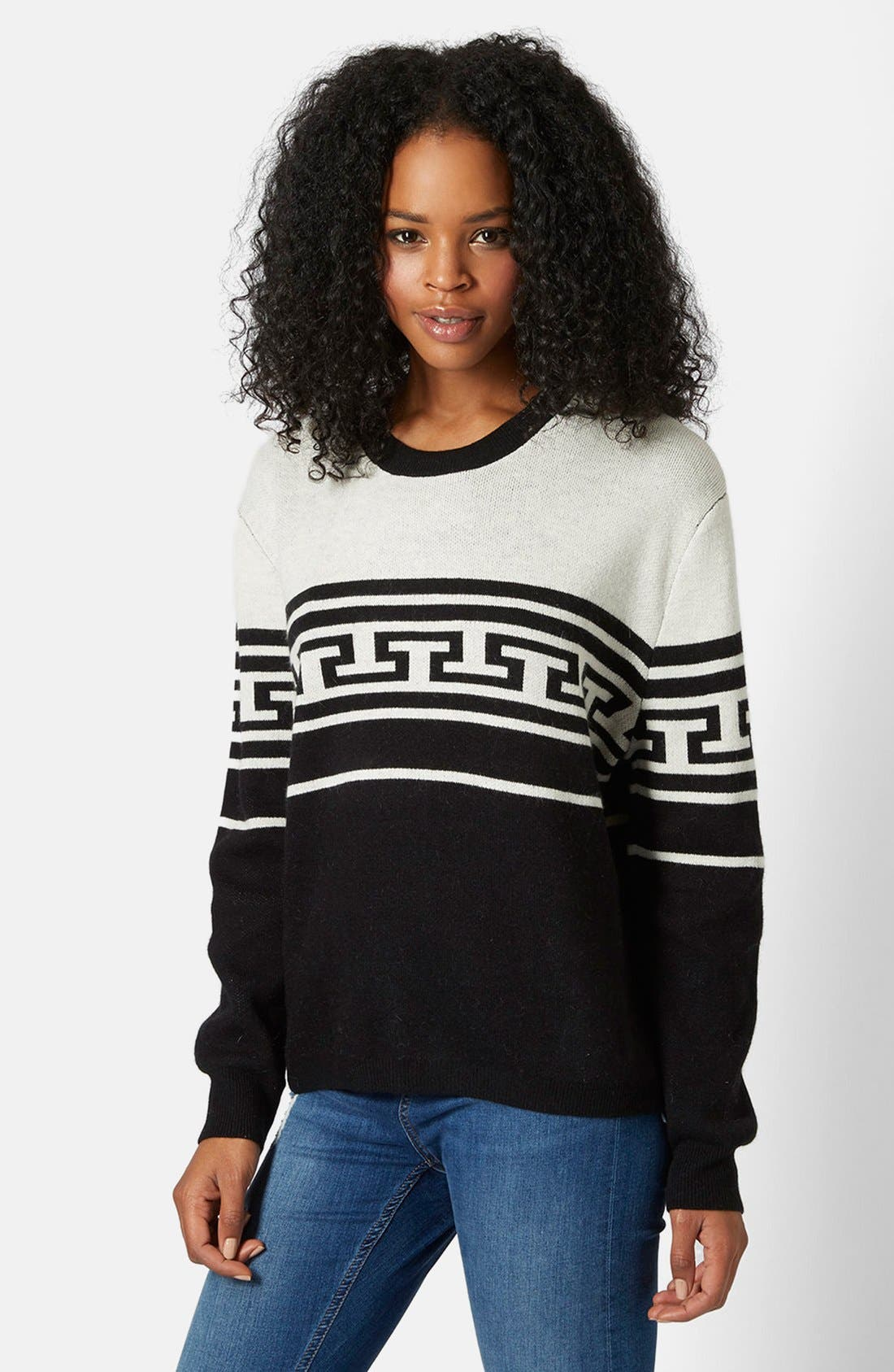 Alternate Image 1 Selected - Topshop Monochrome Pattern Crewneck Sweater