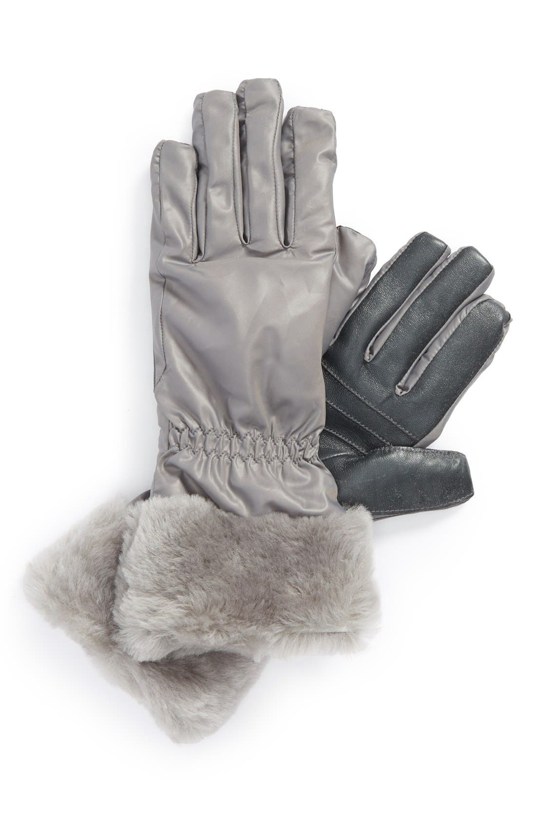 Alternate Image 1 Selected - UGG® Australia Tech Gloves with Genuine Shearling Trim