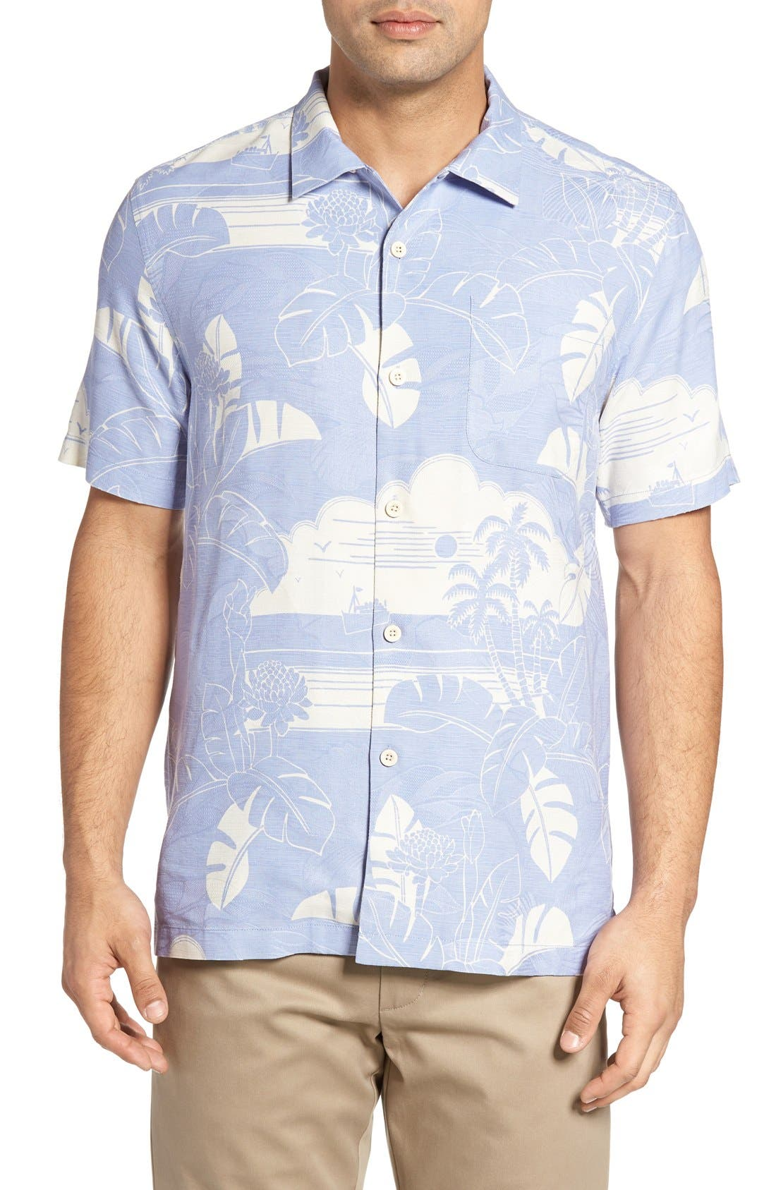 Bon Voyage Isle Silk Shirt,                         Main,                         color, Beachcomber Blue