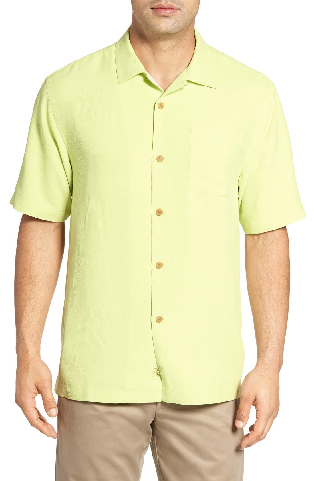 Rio Fronds Short Sleeve Silk Sport Shirt,                             Main thumbnail 1, color,                             Lime Pop