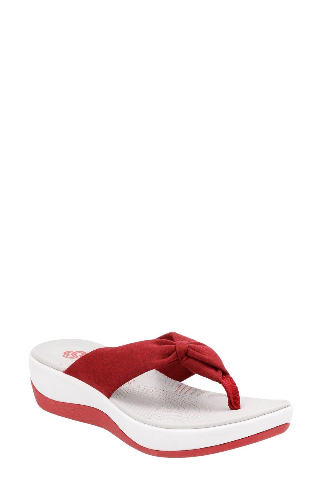 Arla Glison Flip Flop,                             Main thumbnail 1, color,                             Red Fabric