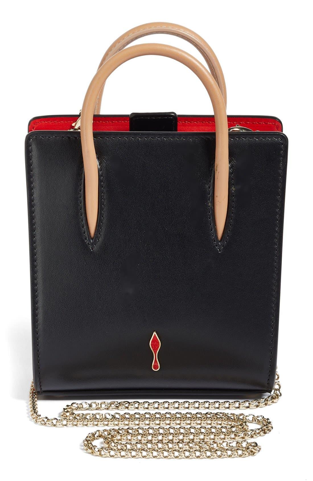 Nano Paloma Calfskin Leather Tote,                             Alternate thumbnail 2, color,                             Black/Brown