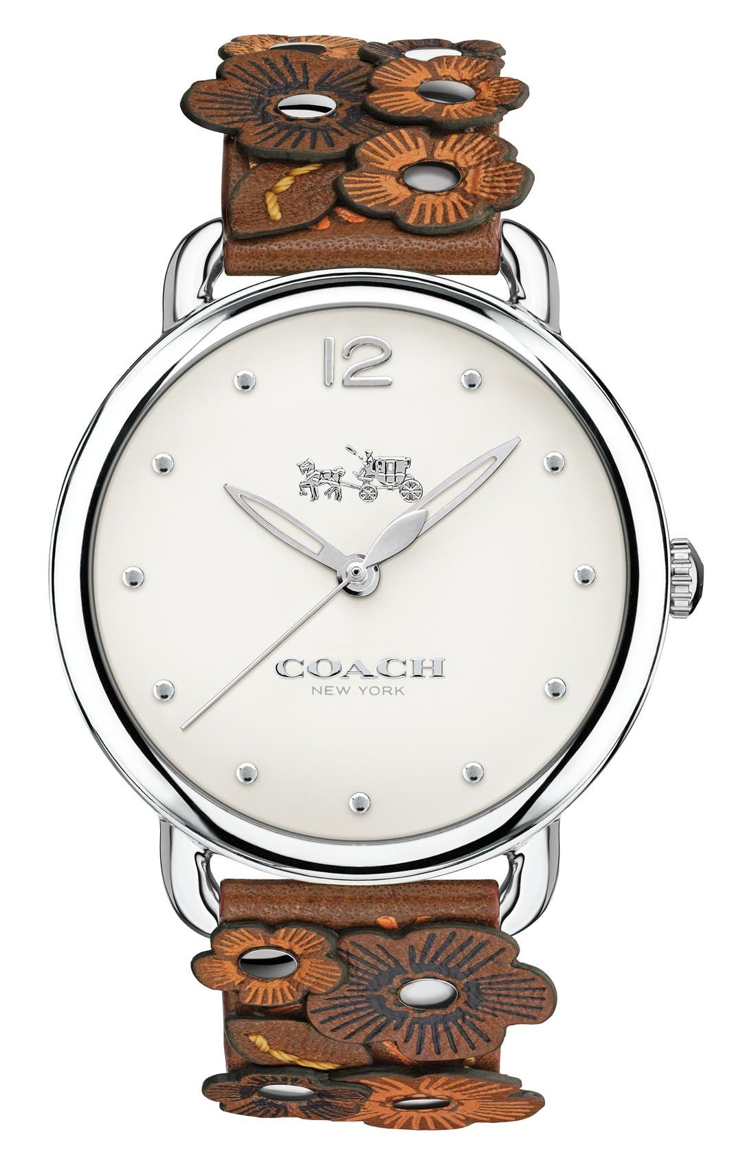 Delancey Leather Strap Watch, 36mm,                             Main thumbnail 1, color,                             Brown/ White